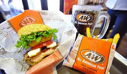 沖繩自由行必買唯一OUTLET「ASHIBINAA」裡的沖繩才有的速食店「A&W」的漢堡薯條
