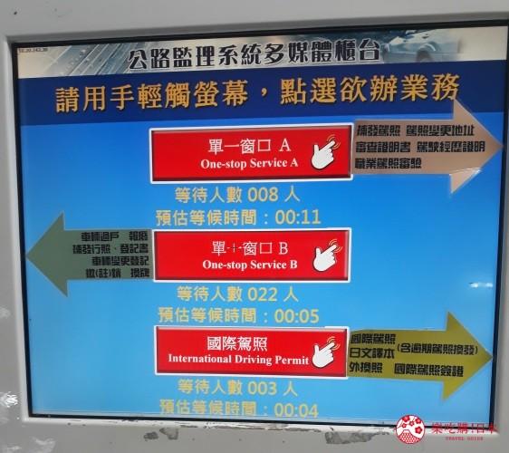冲绳自驾游租车换国际驾照的台湾台北监理处领取号码牌