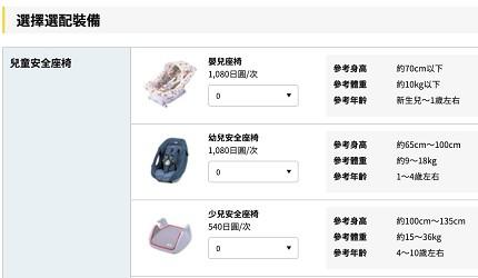 冲绳自驾游租车时「Times CAR RENTAL」的官网依照需求选择加价配备