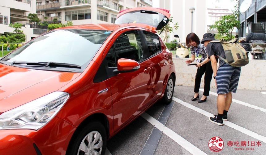 冲绳自驾游租车在旭桥站旁的「Times  CAR RENTAL」现场取车