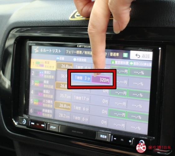 冲绳自驾游租车在旭桥站旁的「Times  CAR RENTAL」取车时车上的导航系统