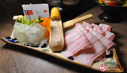冲绳那霸阿古猪涮涮锅与猪排专门店推荐「冲绳猪排食堂岛豚屋」的内的阿古猪涮涮锅套餐内猪肉、季节鲜蔬、猪肉丸子